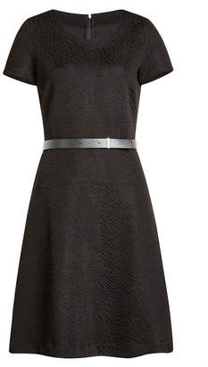 HUGO Textured Dress with Leather Belt