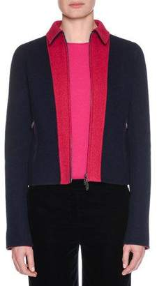 Giorgio Armani Zip-Front Bonded Bicolor Cashmere Jersey Jacket