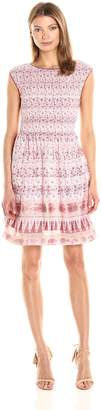 Max Studio MAXSTUDIO Women's Engineered Pleated Short Sleeve Dress