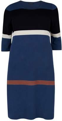 Marina Rinaldi Contrast Stripes Knit Dress