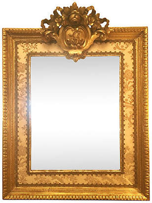 One Kings Lane Vintage 19th-C. French Mirror w/Upholstered Trim - Antiques on Jackson