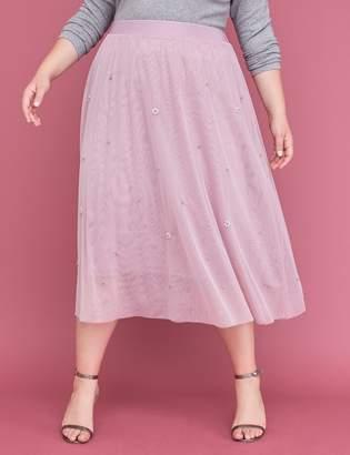Lane Bryant Faux Pearl Mesh Midi Skirt
