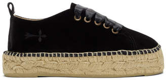 Manebi Black Velvet Monaco Lace-Up Espadrilles