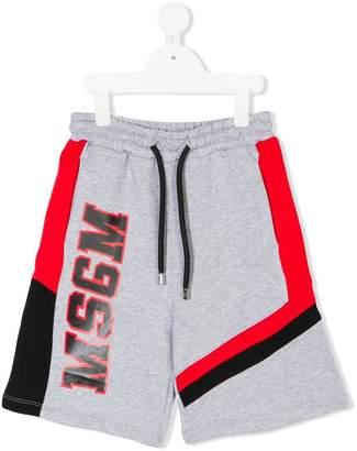 MSGM Kids logo printed shorts