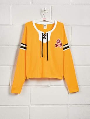 PINK Arizona State University Lace-Up Drop Shoulder Crew