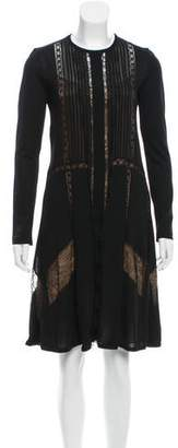 Alberta Ferretti Lace-Trimmed Wool Dress w/ Tags