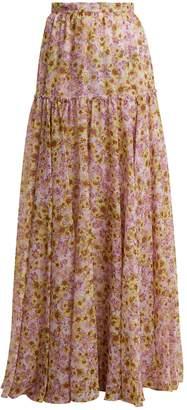 Giambattista Valli Flower Obsession-print silk skirt