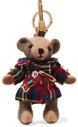 Burberry Embellished Checked Cashmere And Tartan Wool Keychain - Red