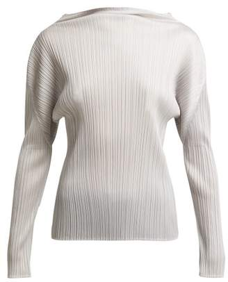 Pleats Please Issey Miyake High Neck Long Sleeve Pleated Top - Womens - Silver