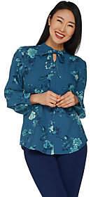 Denim & Co. Floral Print Tie Neck Long SleeveBlouse