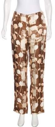 Alberta Ferretti Silk Mid-Rise Pants