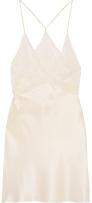 Calvin Klein Underwear - Endless Lace And Tulle-trimmed Silk-satin Chemise - Ivory $185 thestylecure.com