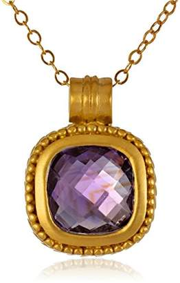 Gold-Plated Sterling Silver Faceted Amethyst Pendant Chain Necklace