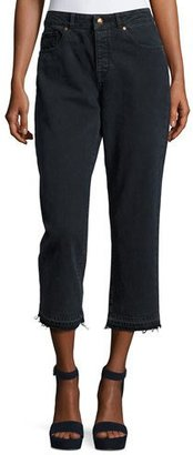 DL 1961 Patti High-Rise Cropped Straight-Leg Jeans with Released Hem, Fallen $198 thestylecure.com