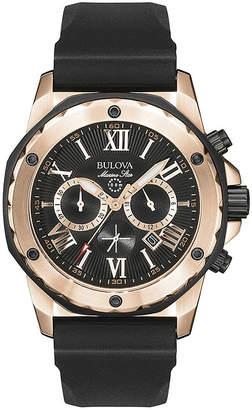 Bulova Mens Black & Rose Gold-Tone Chronograph Sport Watch 98B104