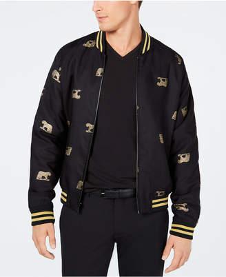 Tallia Men's Slim-Fit Leopard Embroidered Bomber Jacket