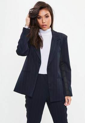 Missguided Stripe Prince Of Wales Button Blazer