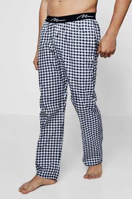 boohoo Navy And Grey Checked Pyjama Pants