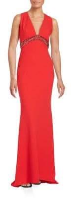 Carmen Marc Valvo Embellished V-Neck Gown