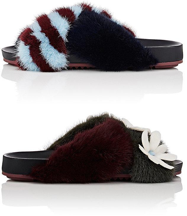 Fendi Women's Mismatched Fur Slide Sandals