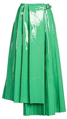 Fendi Women's Patent Leather Pleated Asymmetric Midi Skirt