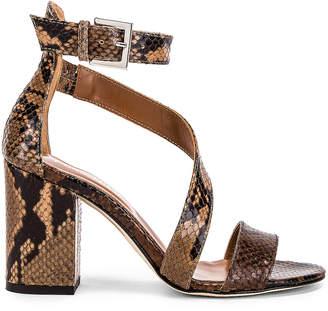 Paris Texas Diagonal Strap Snake 80 Sandal Heel in Brown & Nude   FWRD