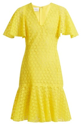 Giambattista Valli V Neck Floral Macrame Lace Cotton Blend Dress - Womens - Yellow