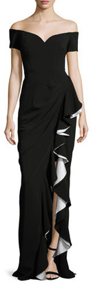 Badgley Mischka Off-the-Shoulder Draped Ruffle Column Gown, Black/Ivory $695 thestylecure.com