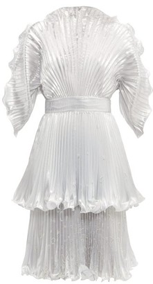 Zandra Rhodes Sunray Pleated Lame Knee Length Dress - Womens - Silver