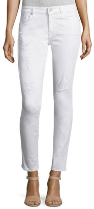 7 For All Mankind The Ankle Distressed Skinny Jeans, White $199 thestylecure.com