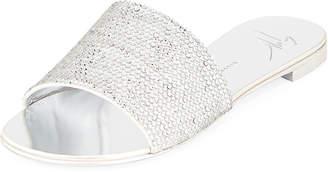 Crystal-Embellished Flat Slide Sandal