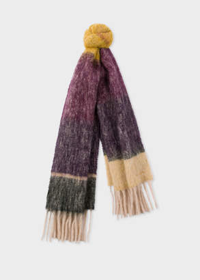 Paul Smith Women's Yellow And Beige Border Alpaca-Blend Scarf
