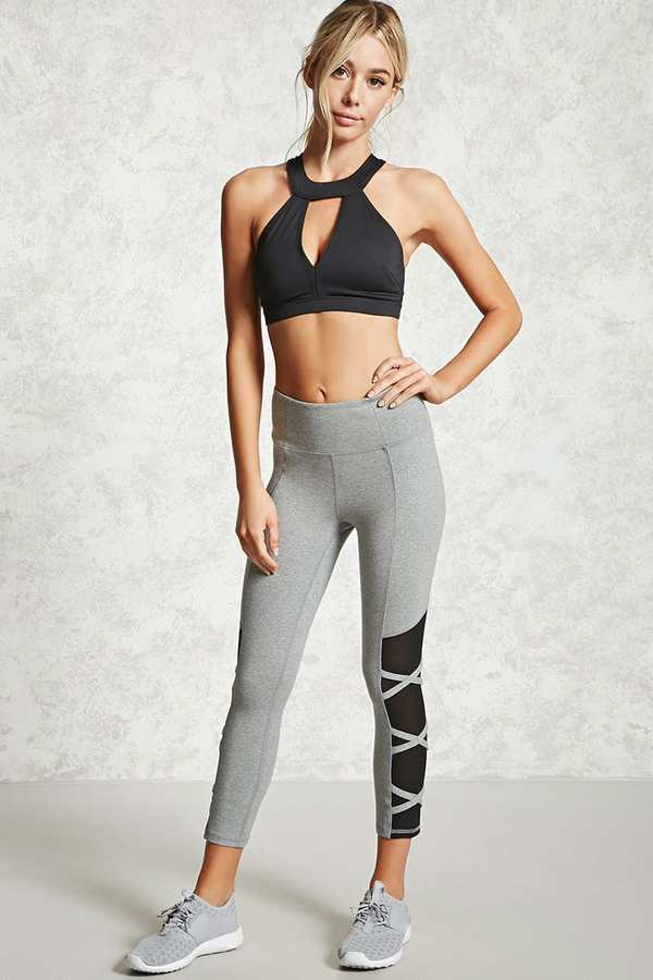 FOREVER 21+ Active Mesh Strap Leggings