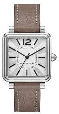 Marc Jacobs Vic Polished Stainless Steel Leather-Strap Analog Watch