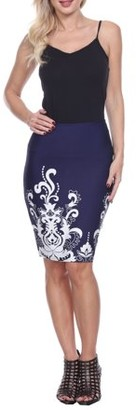 White Mark Women's Floral Paisley Printed Pencil Skirt
