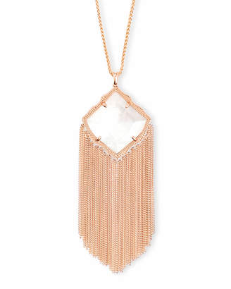 Kendra Scott Kingston Rose Gold Long Pendant Necklace in Ivory Pearl