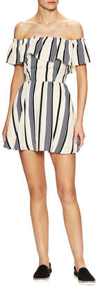 Lucca Couture Striped Off-The-Shoulder Flared Dress