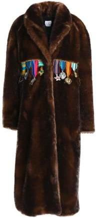 Appliquéd Faux Fur Coat
