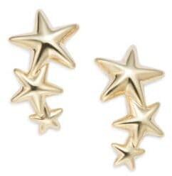 Saks Fifth Avenue 14K Yellow Gold Triple Star Climber Earrings