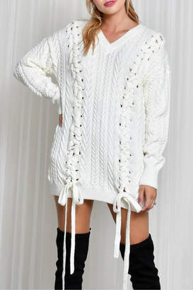 LIFTED Boutique Oversize Lace Up Sweater