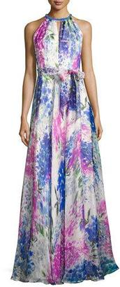 Carmen Marc Valvo Sleeveless Abstract Floral Silk Gown, Blue $1,295 thestylecure.com
