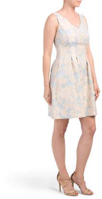 Metallic Jacquard Fit And Flare Dress