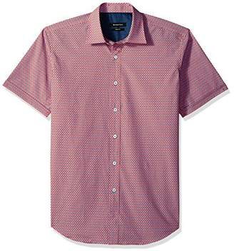 Bugatchi Men's Fitted Printed Geo Pattern Point Collar Short Sleeve Shirt