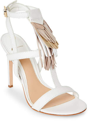 Brian Atwood Optic White Fabia Fringe High Heel Sandals