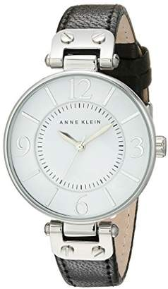 Anne Klein Women's 109169WTBK Silver-Tone and Leather Strap Watch