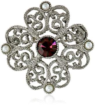Downton Abbey Silver-Tone Purple Crystal with Faux-Pearl Brooch