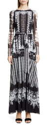 Fuzzi Lace Print Belted Long Sleeve Maxi Dress