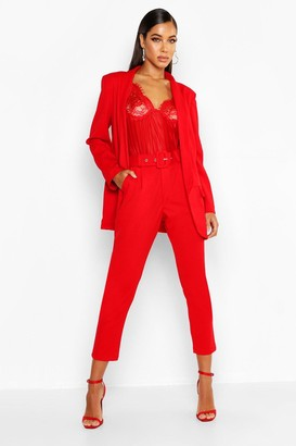 boohoo Self Belt Tailored Trouser
