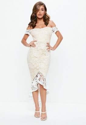 Missguided White Bardot Lace Fishtail Midi Dress