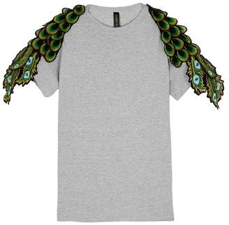 Ragyard RAGYARD Peacock Feather-appliqued Cotton T-shirt
